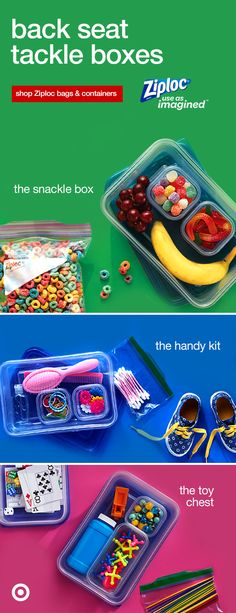 Get inspired with these on-the-go ideas to create a custom box for your car. Road trips will never be the same again. Keep the kids' toys, games, snacks and other necessities ready to tackle. Ziploc seal top bags are so easy for kids to open & dig into. Shop Ziploc and Use As Imagined!