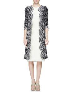 -5PQD Oscar de la Renta Floral Eyelet Scalloped Tweed Jacket & Woven Silk Pencil Dress