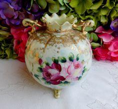 Beautiful Vintage Nippon Porcelain Hand Painted Vase ~ Roses ~ Gold Gild