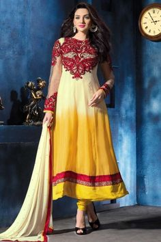 Designer Embroidered Festival Anarkali Kameez; Beige Yellow and Amber Yellow Pure Georgette Embroidered Party and Festival Anarkali Kameez