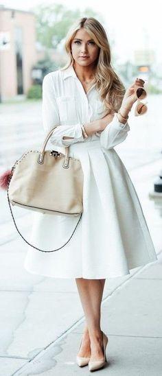 summer outfits White Blouse + White Peplum Skirt