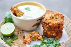 Jalapeno Corn Fritters + Avocado Cream -- Spicy Corn Fritters bursting with flavour with a cool, whipped Avocado Cream! http://crumbsandtales.com/jalapeno-corn-fritters-avocado-cream/