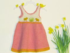 Dress with chicken for baby girl 39month by iziknittings on Etsy, $34.00