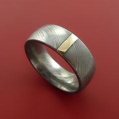 Damascus Steel 14K Yellow Gold Vertical Inlay Ring Wedding Band Custom – Stonebrook Jewelry