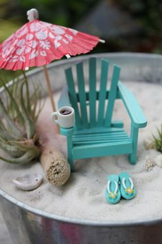 Miniature Morning on the Beach with Coffee - by Landscapes In Miniature. $31.99, via Etsy.