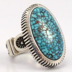 Heavy Gauge Sterling Silver Ring with Hand Stamped Designs and set with a Long Oval Natural Turquoise Stone from the Turquoise Mountain Mine in Arizona. Kingman Turquoise, Turquoise Rings, Turquoise Bracelet, Sterling Jewelry, Silver Jewelry, Diamond Jewelry, Jewlery, Pyrus, Best Friend Jewelry