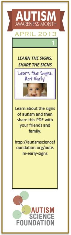 Awareness of #autism is no longer enough. We need to take action everyday in April. Each day in April we'll be pinning activities so you can get involved!