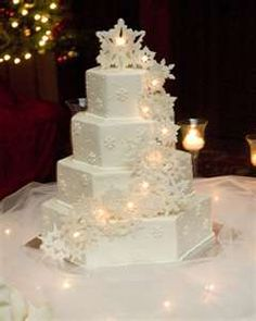 Winter cake. Love the idea but would make smaller and with blue snow flakes for a birthday