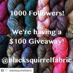 #Repost @blacksquirrelfabric with @repostapp. #blacksquirrel1k   The shop is launching Monday morning!!!  If you haven't entered our $100 giveaway yet this is the final countdown! We've got amazing hand painted yarns from @twistedowlfiberstudio rich solids from @forbiddenwoolery and beautiful gradients from Apple Tree Knits! Plus one of a kind ceramic yarn bowls hand salve and tote bags! To enter be sure you're following us and repost this image with @blacksquirrelfabric and…