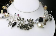 Vntage pearls and crystals for a dramatic statement piece. See my newest work at tobyslawsky.com