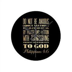Christian Scriptural Bible - Philippians 4:6 Wallclocks