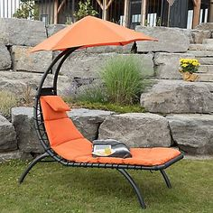 Orange Zest Dream Lounger with Umbrella | Kirklands