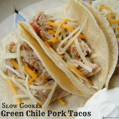 Slow Cooker Green Chile Pork Tacos - good flavor but make sure to add the pork back into the sauce after shredding. A 2lb tenderloin was plenty for 3 people & several days of leftovers - 4lbs would have been way too much (I kept other ingredient amts the same.) With so many leftovers, I ran out of taco shells & started making salads. They were tasty, too (sauce used as dressing). We made the Spanish rice referenced in the recipe. It was bland as a side, but good added into the tacos/salad.
