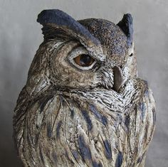European Eagle Owl - Ceramic stone are with oxide glaze