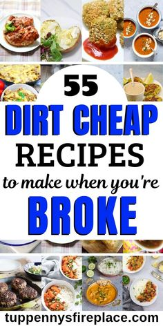 55 Dirt Cheap Recipes For When You Are Seriously Broke You've got to try these yummy cheap meals. 55 cheap & easy dinners for you to try. Simple budget meals including crock pot, vegetarian, vegan, keto and paleo. Cut your groceries budget and save money. Extremely Cheap Meals, Cheap Easy Meals, Cheap Dinners, Frugal Meals, Budget Meals, Groceries Budget, Money Budget, Frugal Recipes, Oven Recipes