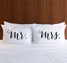 "Pillowcase Set ""Mr & Mrs"" Pair of 2 Pillowcases for Couples (2 Standard/Queen Pillowcases) Wedding Gift, Bridal Shower Gift or Anniversary Gift for Him or Her"