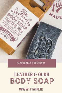 A soap for the guys.. but loved by women! Irish made the old fashioned way using the cold process method. This handcrafted body soap is packed with skin loving ingredients such as activated charcoal to draw unwanted excess oils from skin, and atlantic Irish seaweed to nourish and cleanse. Infused with our signature cologne blend of Leather & Oudh. Our soaps are vegan friendly & never tested on animals. Fragrance oils are paraben & phthalate free. #handmadesoap #sheabuttersoap #bodysoap