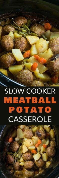 SLOW COOKER Meatball Potato Casserole with a creamy beef gravy is delicious! & easy to make crockpot recipe is perfect for busy weeknights! This Italian Meatballs dish uses cream of mushroom soup and is filled with vegetables including potatoes, carro Crock Pot Recipes, Crockpot Dishes, Crock Pot Slow Cooker, Slow Cooker Recipes, Beef Recipes, Cooking Recipes, Crockpot Meals, Dinner Crockpot, Jalapeno Recipes