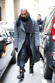 Kanye West. Paris Menswear fashion week. After Maison Martin Margiela. 2013.