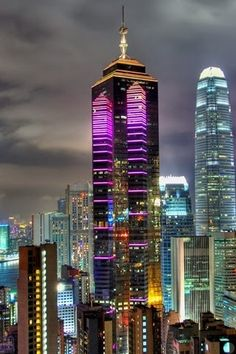 Colorful Hong Kong Skyline Memory- sleeping at nights to this sight at the window , the city that never sleeps.
