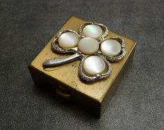 SALE! Vintage Pill Box - Gold Tone & Mother of Pearl Shamrock (Elegant Ladylike Shabby Distressed MOP 1960s)