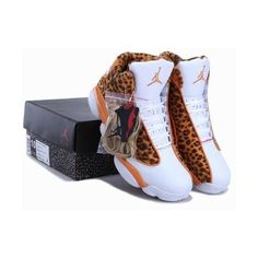Cheetah Print Air Jordan 13 Leopard Orange White New Jordans Shoes... ❤ liked on Polyvore featuring shoes, sneakers, orange sneakers, white leopard shoes, cheetah shoes, white trainers and white shoes