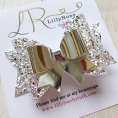 Something a little different, little rose gold fringe clips to keep all those wispy bits out of the way Silver Bow, Silver Glitter, Handmade Hair Bows, Handmade Silver, Felt Hair Accessories, Glitter Roses, Glitter Hair, Fabric Hair Bows, Lace Headbands