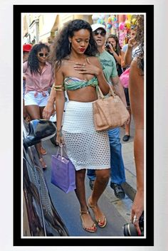 Buy it: Rihanna's Green Palms Print Bandeau Bikini and Woven-Leather Tote