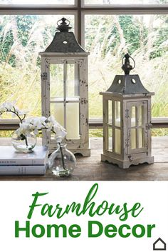 Add #farm charm to your home with these window-pane style candle holders. The tin roof and latched door create an adorable #antiqued place to house your candles and more.