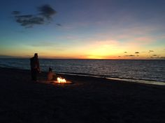Sunset & a camp fire at Pormpuraaw. Photo by Const Cat Boles