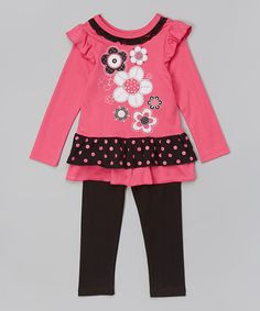 Take a look at the Pink Floral Tunic & Leggings - Toddler & Girls on #zulily today!