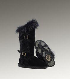 UGG Fox Fur Tall 1984 Black Boots  <3 <3 <3