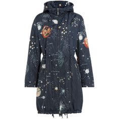 Valentino Constellation Print Parka (6,325 CAD) ❤ liked on Polyvore featuring outerwear, coats, multicolor, navy blue parka, slim coat, parka coat, lightweight coat and navy coat