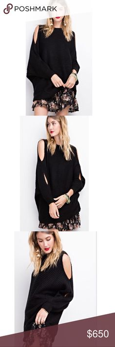 COMING SOON Oversized Cold Shoulder Sweater This oversized black chunky knit cold shoulder sweater is so soft. Features a round neckline and dolman sleeves. This is a definite necessity for your wardrobe! Price is firm unless bundled. No trading. Available for pre-order $65 Sweaters