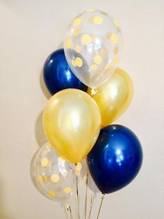 Navy Blue and Gold Latex Balloons Navy and Gold Baby Shower