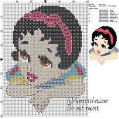 Baby princess Snow White disney free cross stitch pattern 60x80 9 colors