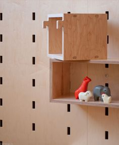 Wall mounted modular storage system by Kerf Design.