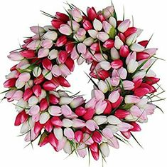 a49c84d43154 The Wreath depot The Wreath Depot Pink and White Tulip Front Door Wreath,  19 Inch
