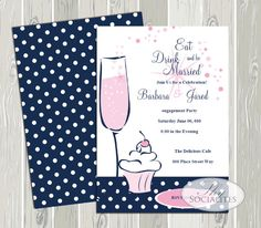 Cupcake and Champage Invitation / Cupcake and by ShySocialites, $15.00