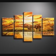 Huge Contemporary Wall Art Oil Painting On Canvas Gallery Stretched Africa Landscape. This 5 panels canvas wall art is hand painted by Bo Yi Art Studio, instock - $165. To see more, visit OilPaintingShops.com