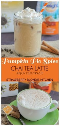Kick start this fall season with a Pumpkin Pie Spice Chai Tea Latte. Pumpkin Pie creamer blended with seasonal spices such as cinnamon, ginger and cardamom in chai tea, meld together perfectly to bring you a delightfully warm {or iced latte} perfect for those crisp autumn mornings #DelightfulMoments #Ad @walmart    Strawberry Blondie Kitchen