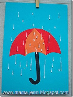 spring rain...it's just glue drops. hang up to dry like running drops instead of blobs