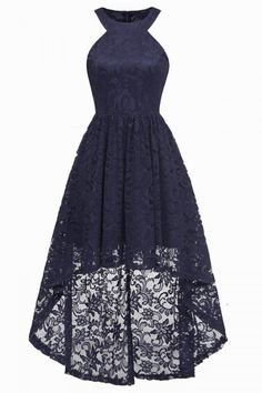 Dark Navy High Low Cut Out Prom Spitzenkleid Lace Homecoming Dresses, Lace Party Dresses, Hoco Dresses, Dance Dresses, Pretty Dresses, Vintage Dresses, Beautiful Dresses, Evening Dresses, Formal Dresses
