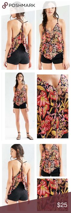 NWT UO Floral Cami Flowy Racerback Top Gorgeous for summer!! No flaws! New with tags. Smoke free pet friendly home Urban Outfitters Tops Camisoles