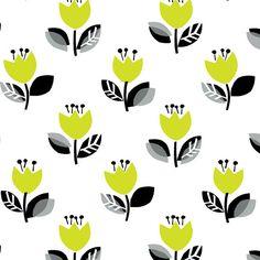 Tulips fabric in Green