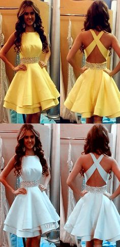 Short Homecoming Dresses Yellow, A Line Homecoming Dresses Open Back, Modest Homecoming Dresses For Teens, Petite Homecoming Dresses Beading Semi Formal Dresses For Teens, Pageant Dresses For Teens, Semi Dresses, Elegant Dresses, Teen Dance Dresses, Cute Formal Dresses, Vintage Homecoming Dresses, Backless Homecoming Dresses, Hoco Dresses