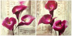 NEW 2pc Canvas Wall Art-streched over timbeR 50cm x50cm- Hot Pink Lillies