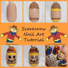 Scarecrow and Scarecrow Patchwork Nail Art Tutorials!