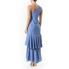 Vestido listrado babados Artsy Brasil - Azul - shoplixmix