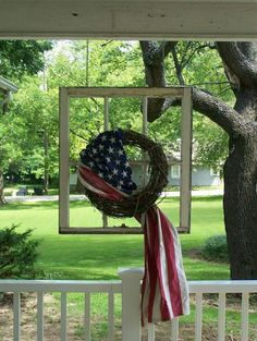 Flag Wreath - red white and blue for Memorial Day, of July, Flag Day, Veterans Day or any patriotic event. Country Crafts, Flag Country, Country Decor, Unicorn Christmas, Summer Porch Decor, Independance Day, Usa Tumblr, 4th Of July Decorations, Americana Decorations
